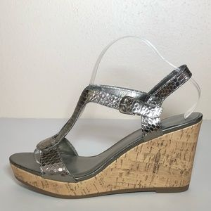 Kelly & Katie Silver Wedge Sandals